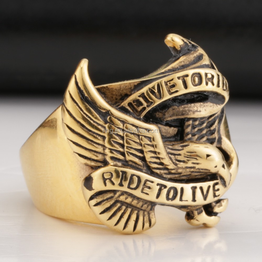 2014 Super Cool Gold Eagle Rings For Man Stainless Steel Hot Sale ...