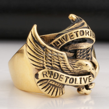 2014 Super Cool Gold Eagle Rings For Man Stainless Steel Hot Sale Rings
