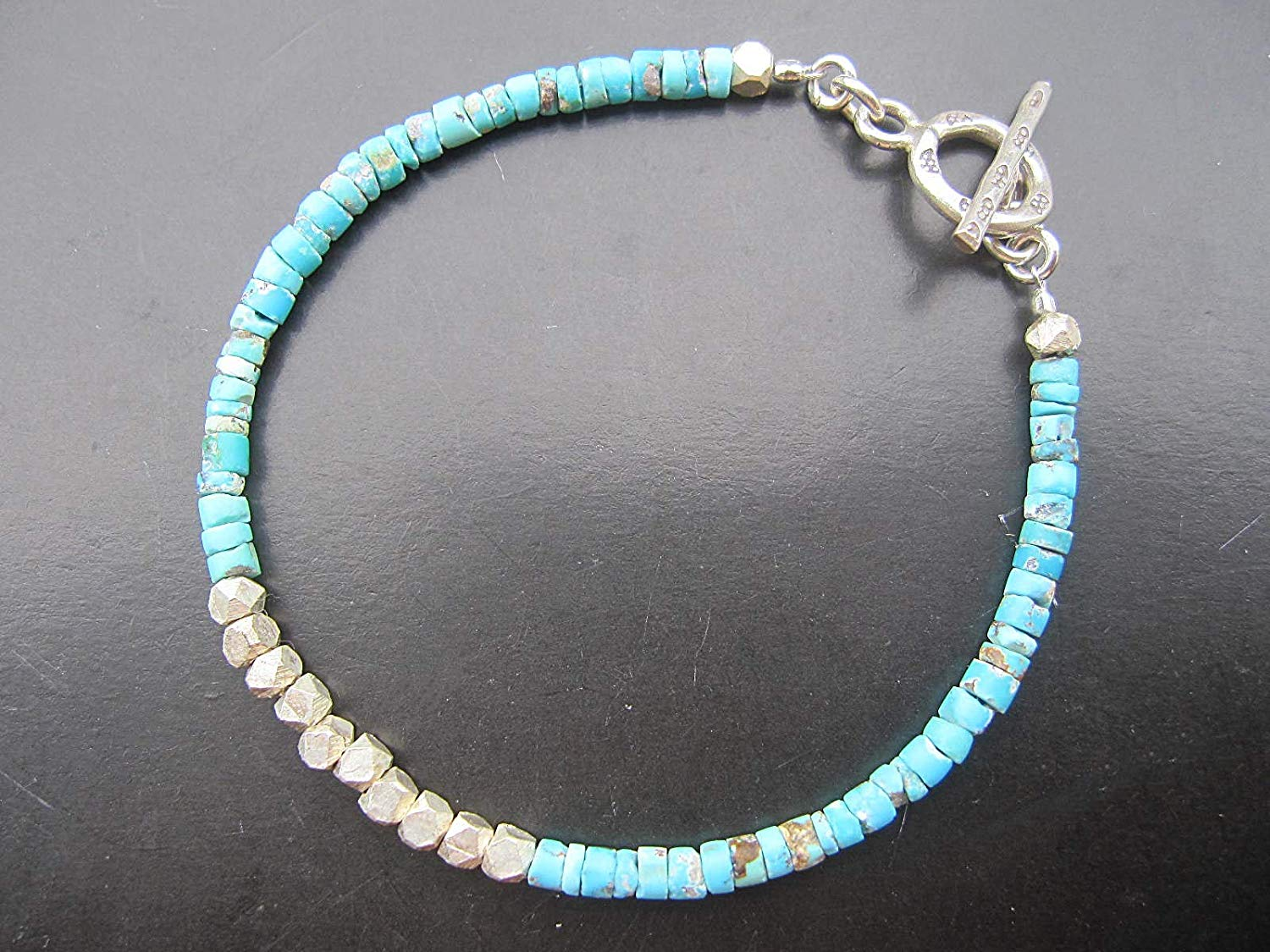 Afghan Turquoise seed beads Bracelet,Size 3 mm, Karen Hill Tribe Silver Clasp,Custom size 6.5,7,7.5,8,8.5 inches