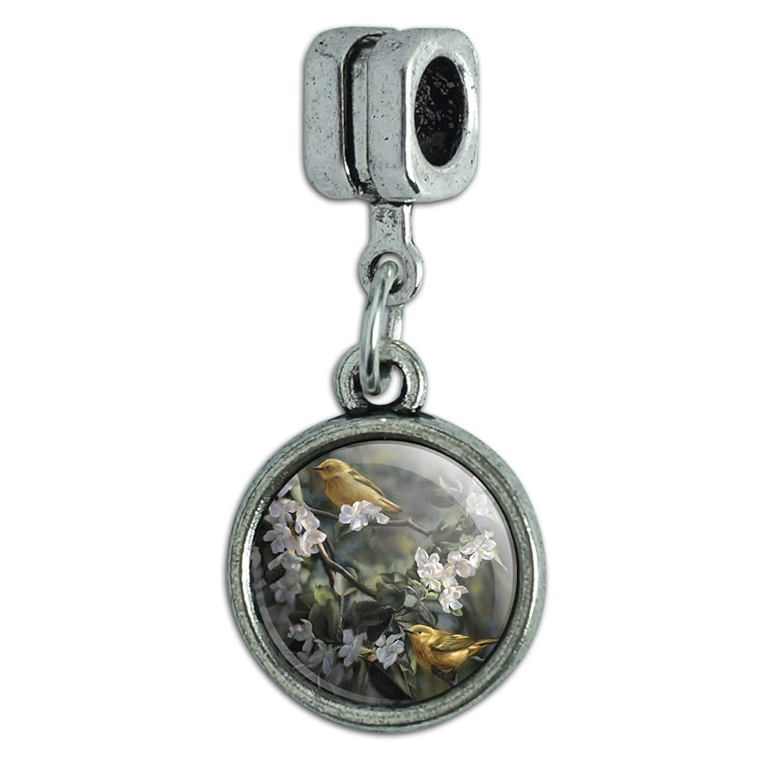 Graphics and More American Yellow Warblers Birds Italian European Style Bracelet Charm Bead