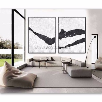 Set of 2 Extra large minimalist wall art canvas acrylic landscape painting