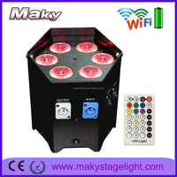 American nightclub flat par light 6x18w 6in1 rgbwa uv slim mini led light bar with wireless remote control