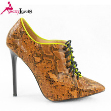 Snake Pu Upper Lace Up Style Ankle Boot Stiletto Ladies Heel Shoes Women High Heels