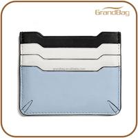contrast color leather card pouch slim design card sleeve pocket mini card holder wallet for wonem