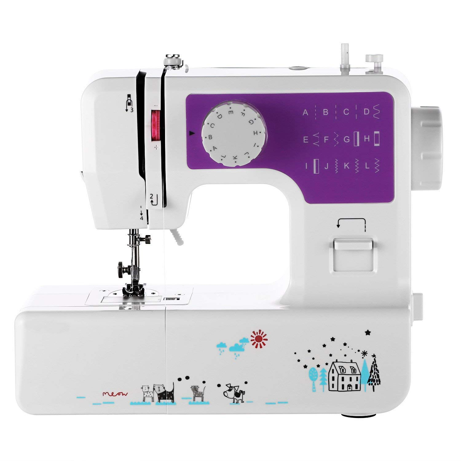 18 stitches including Buttonhole Zigzag And Other Popular Stitching Sunbeam SB1818 Easy-to-Use Everyday Compact Sewing Machine Over 100 Piece Of All Basic Sewing Kit Included