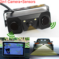 New 2 in 1 Sound Alarm CCD HD Car Reverse Backup LED Rear View Camera Parking