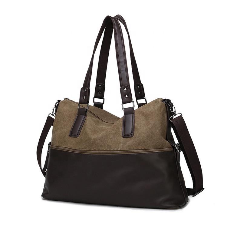 Custom Business Men Laptop Heavy Blank Leather Handle Cotton Canvas Tote Bag