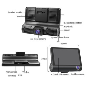 4.0 inch 1080P Dual Lens Full HD Car DVR Camera 170 Degree Rearview Car Dash Camera G-sensor Auto Car Camera Recorder