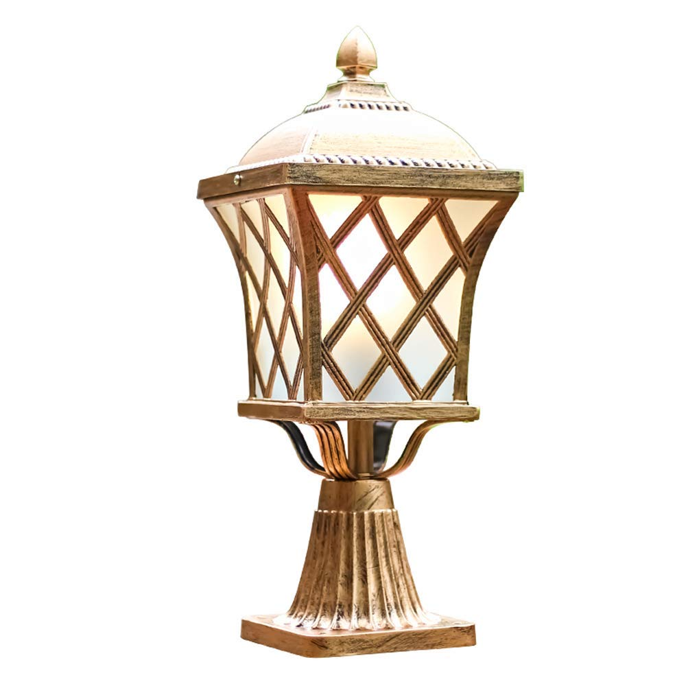 Hines European Bronze Antique Victoria Glass Lantern Column Light American Retro 1-Light Aluminum Outdoor Waterproof Table Lamp Street Light Villa Garden Post Door Light