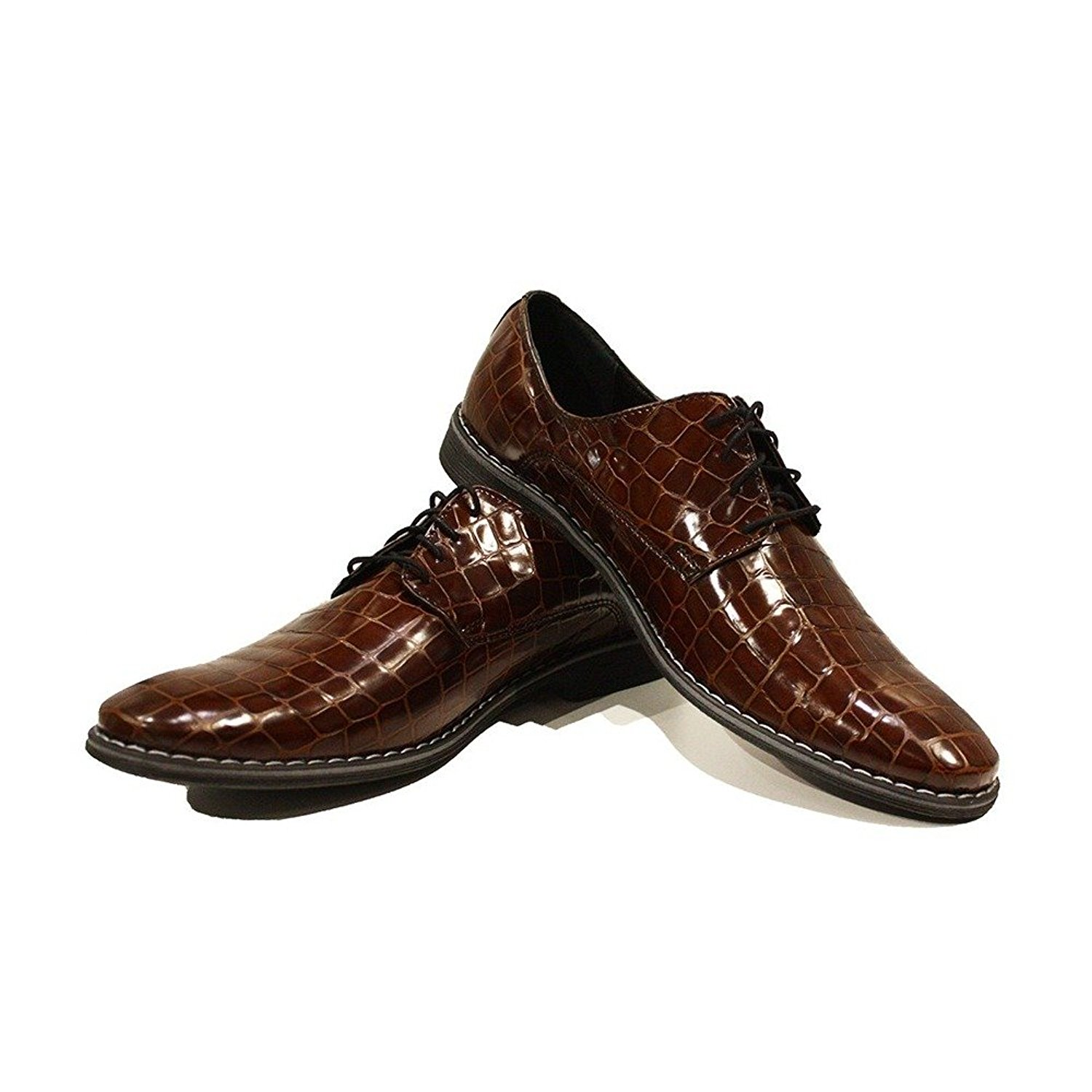 Modello Gozo - Handmade Italian Mens Brown Oxfords Dress Shoes - Cowhide Embossed Leather - Lace-up
