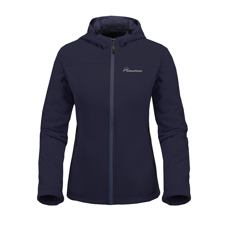 Full-Zip Waterproof /& Stain Repellent OutdoorMaster Womens Fleece Jacket Ultra Soft Plush Lining /& Optional Hoodie