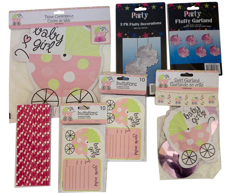 Baby Shower (Girl) Invites-decoration Set -Centerpiece-garland-straws-pom Poms