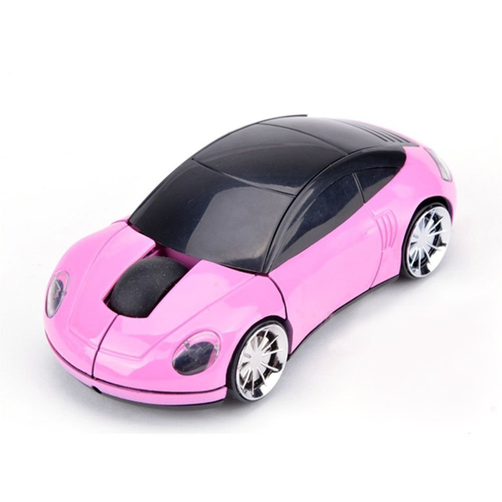Elsees 2.4GHz 3D Car Shape Wireless Optical Mouse USB Gaming Mouse with Receiver for PC Laptop (Pink)