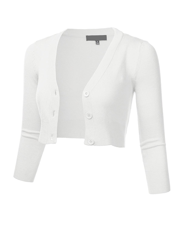 FLORIA Women Solid Button Down 3/4 Sleeve Cropped Bolero Cardigan Sweater (S-4X)