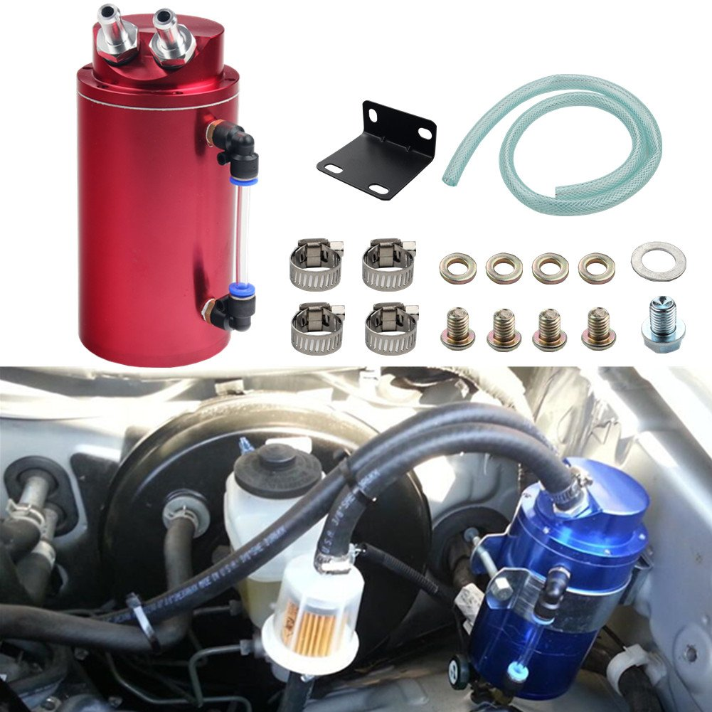 Dewhel Universal Cylindrical JDM 750ml Aluminum Engine Oil Catch Can Reservoir Tank (Red)