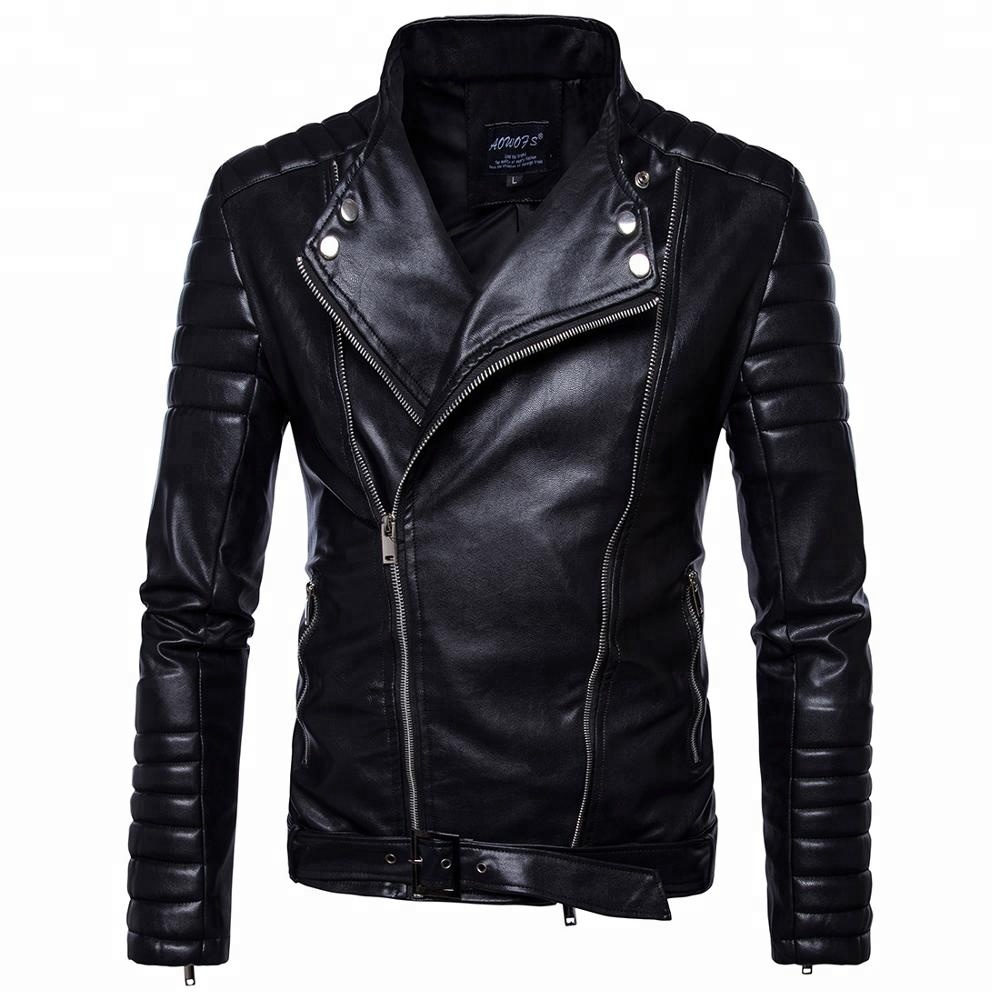 Half high collar long sleeve autumn fashion moto jacket black pu leather jackets for men