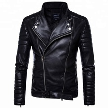 Demi-col à manches longues <span class=keywords><strong>automne</strong></span> mode moto <span class=keywords><strong>veste</strong></span> noir pu vestes en cuir <span class=keywords><strong>pour</strong></span> hommes