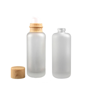Fuyun 110ml Wooden Cream / Lotion Pump Glass Bottles Natural Luxury Bamboo Cosmetic Packaging
