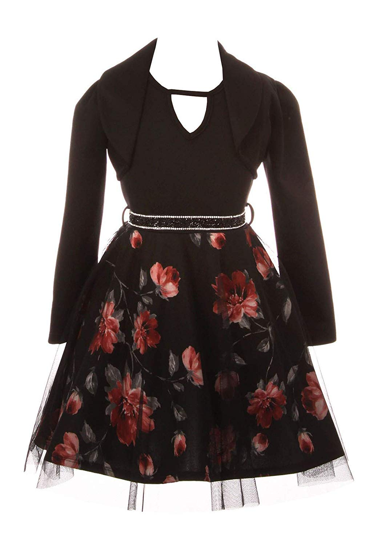 6db106d08e iGirlDress Girls 2 Pieces Jacket Dress Rhinestones Holiday Flower Girl Dress  USA 4-14