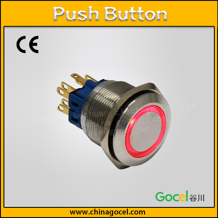 22mm led ring type illuminated lamp self-reset push button electrical wireless with pin switch GQ22F-11E/S