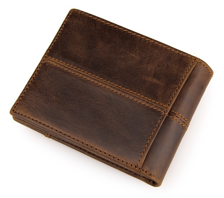 Wholesale new fashion full grain top layer leather men wallet with customized logo free gift package provided
