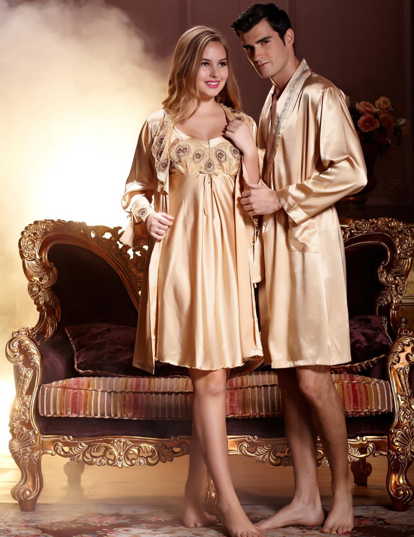 Fashion Gold Couple Bathrobe Emulation Silk Women Robes Long Sleeve  Sleepwear For Men Silk Satin Pijamas Casual Homewear b4e9d3416