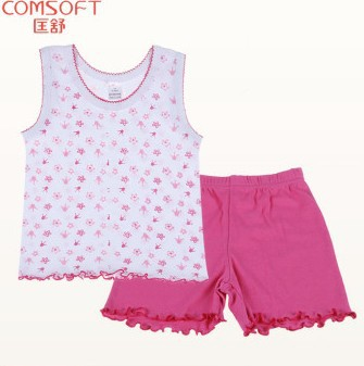 2014 Clothing manufacturer fashion printed pure cotton child clothes set