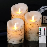 "Homemory H4"" 5"" 6"" Rustic Electric Flickering Moving Wick Birch Bark Paraffin Wax Flameless LED Candles Set of 3 with Remote"