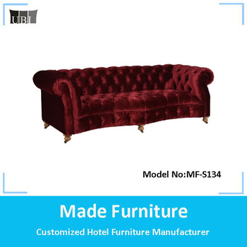 Classic Button Tufted Red Velvet Chesterfield Sofa With Removeable Wheel  Legs