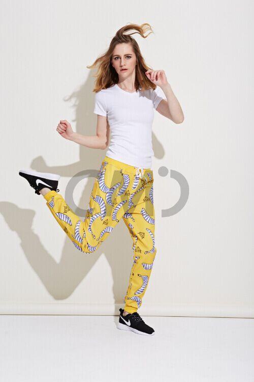 Горячая распродажа сша марка женщины смайлик печать свободного покроя карандаш брюки женские шнурок брюки эластичный пояс хлопок смайлики брюки