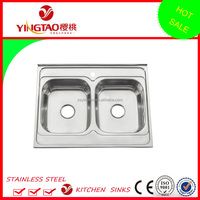 32 X 24 inches popular style double sinks, inset installation two holes number stainless steel sinks for wholesale