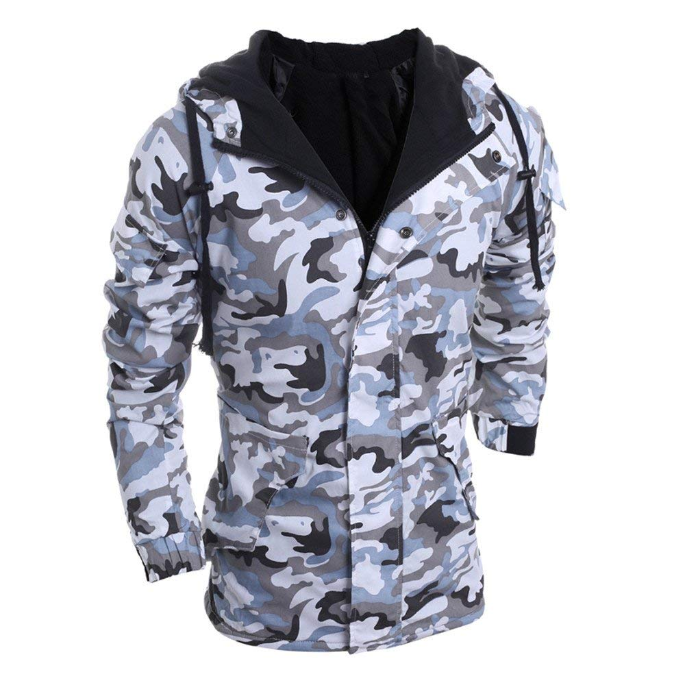 Clearance!Mens Cool Camouflage Hoodies Zipper Button Slim Fit Hooded Jacket Coat Zulmaliu