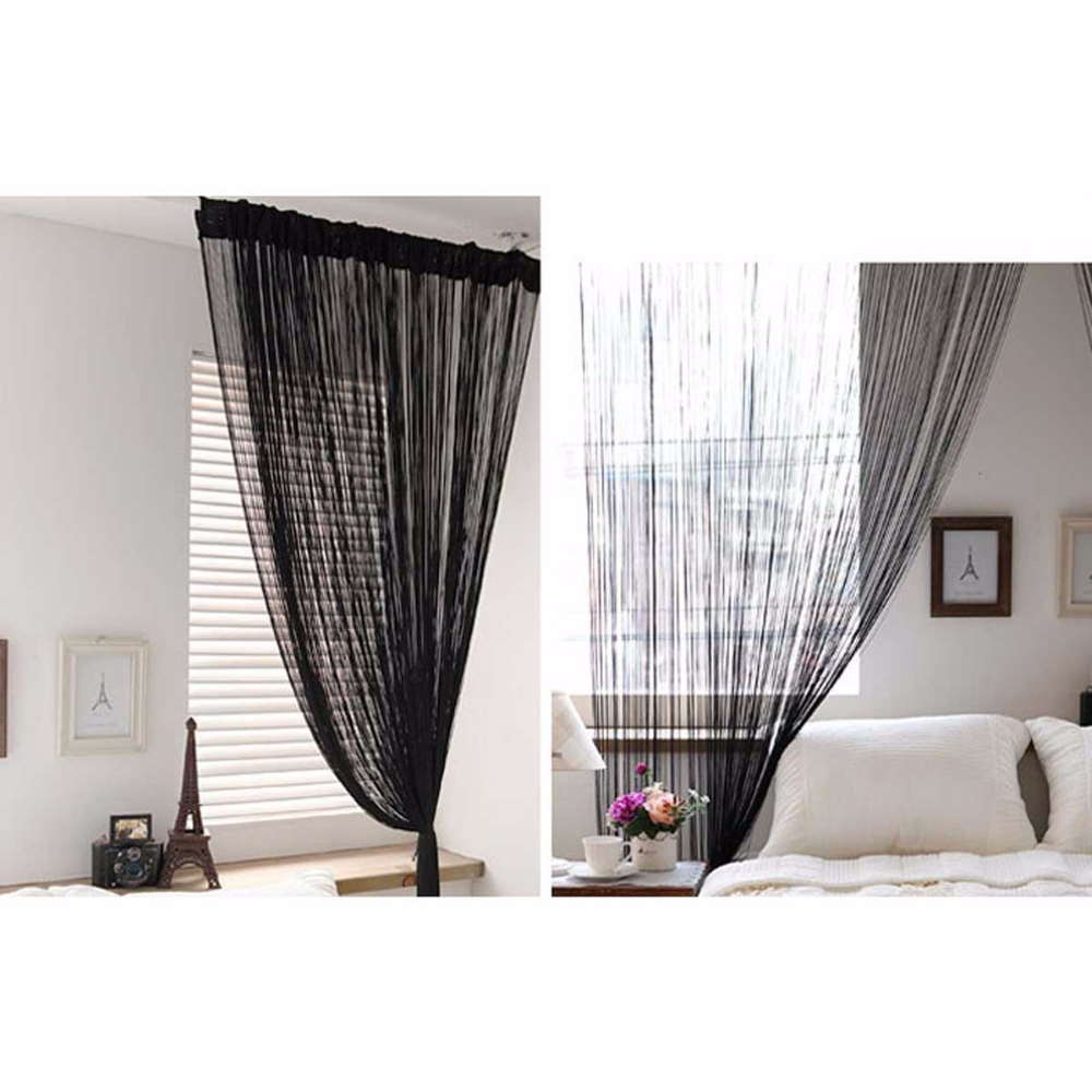 New Christmas Wholesale 3m x 3m Black Tassel Drape Panel Strings Curtain for Window Door Room Home Decor