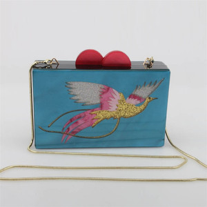 2019 latest European novelty hot fashion party soiree embrayage peacock evening acrylic clutch bags