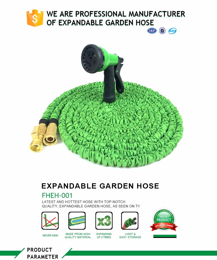 New Magic Expandable Hose Pipe Garden Water Hose with Brass Fitting with Spray Gun Retractable garden hose