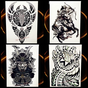 New Indian Black Totem Temporary Tattoo Sticker For Men Body Art Arm Sleeve Blade Tatoo Decal Women Fake Flash Waterproof Tattoo