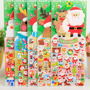 Myway Merry Christmas PVC Custom adhesive cartoon 3D foam puffy sticker for kids