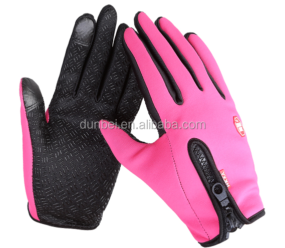 Wholesale factory custom 2015 hot selling cute winter unisex waterproof non-slip touch screen ski gloves with fleece