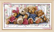 Teddy семья игрушечных медведей из мультфильма, картина с счетным принтом на холсте DMC 11CT 14CT, китайский Набор для вышивки крестом, набор для рук...(Китай)