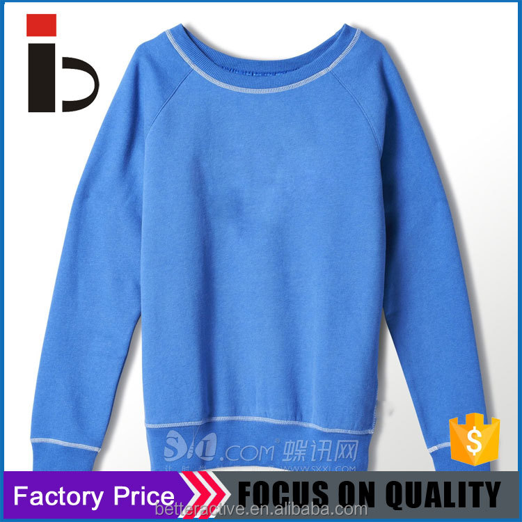 Flatlock stitching all colors Long sleeve women cotton pullover with RIB