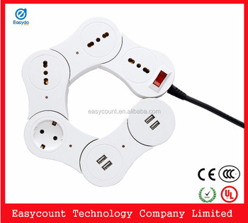 EPS1 International Electric Socket power cube Euro power strip wtih usb and Euro outlet socket