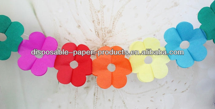 Flower petal Tissue Paper Garland Party Decorations Rainbow Flower 3m Hawaiian Luau Paper Centerpiece Garland Decoration Kit