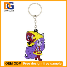 2D Custom Shaped Soft PVC Anime Customized Silicone Colorful Plastic Keychain