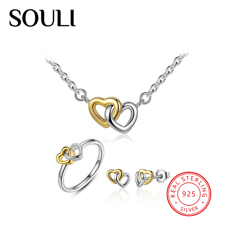 Jewelry Gifts Heart Love S925 Sterling Silver Wedding Jewelry Set
