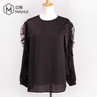 Round Collar Blouse Women Long Sleeve Blouses Ladies Top