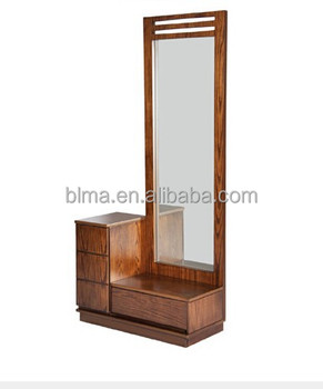 wooden dressing table with full-length mirror