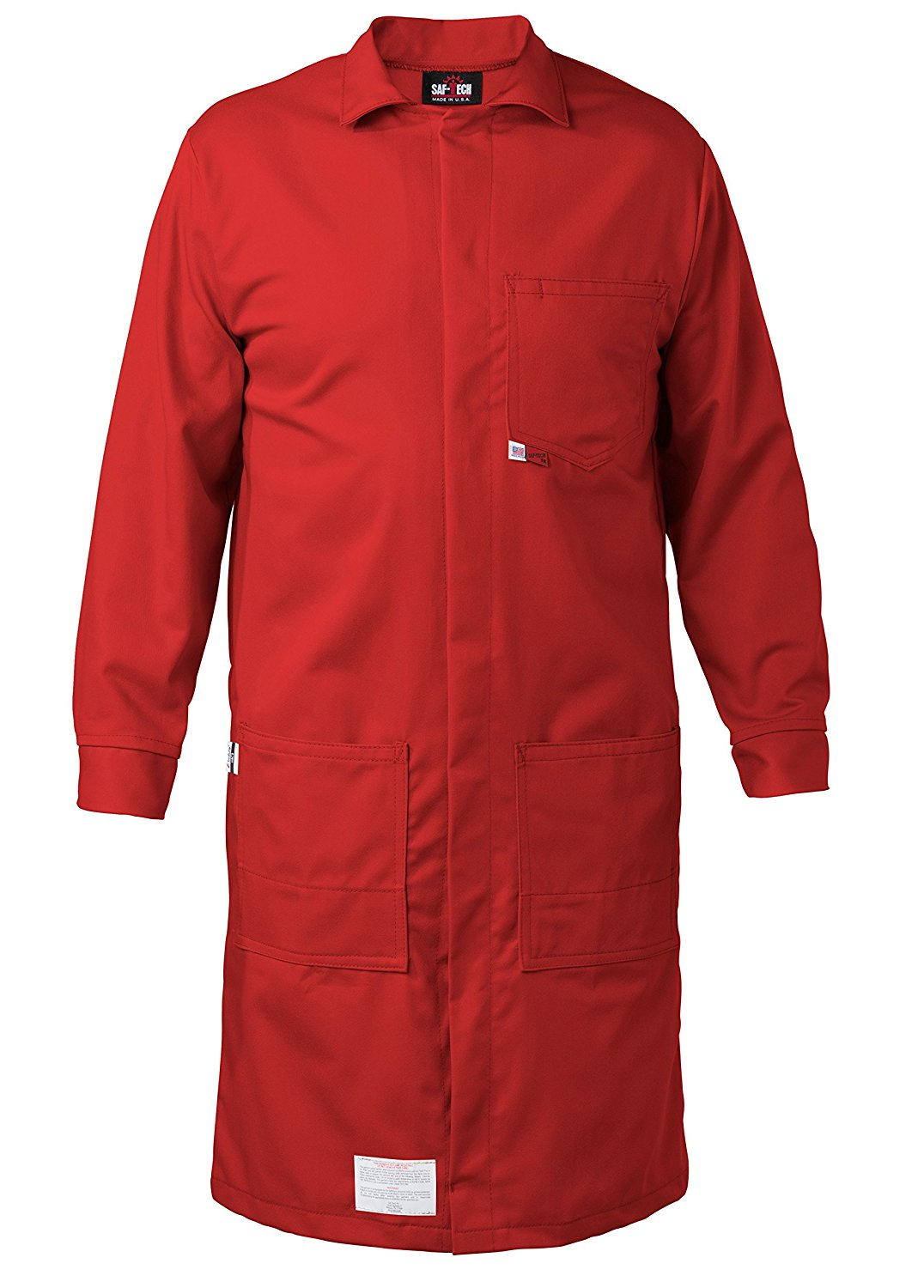 RED - 6X - FR LAB COAT - 6oz. NOMEX III3 Flame Resistant Fabric - Lab or Classroom Ready - HRC 1 - APTV= 5.7 cal/m2 - MADE IN THE U.S.A.