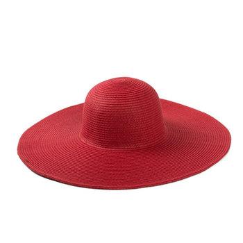 Cheap Ladies wide brim red sombrero women straw plain hat wholesale ae5c49fa331