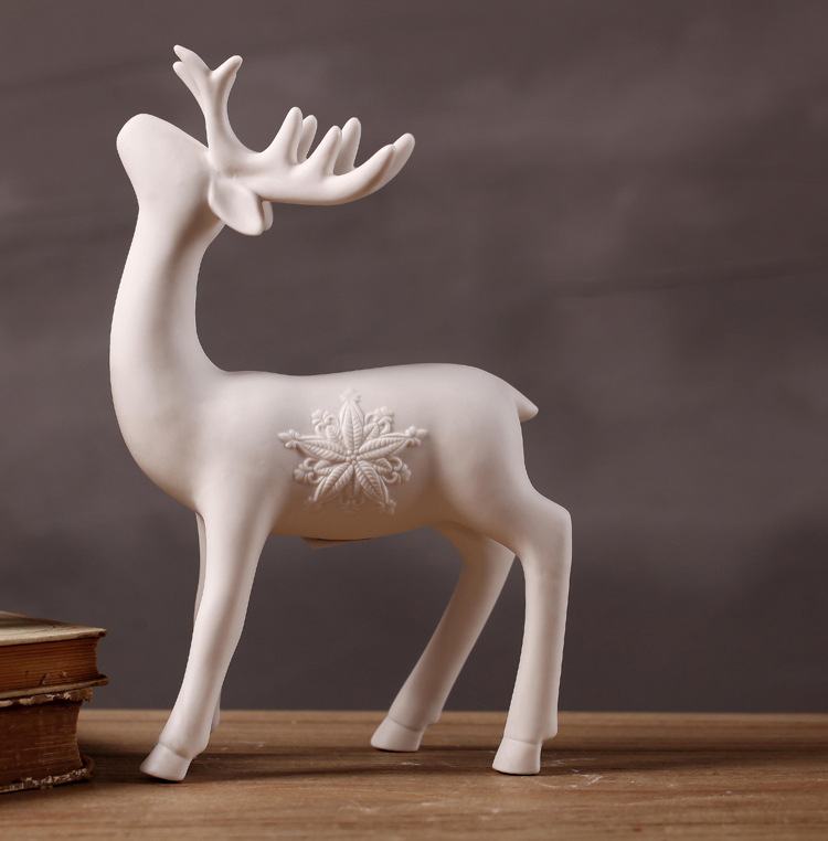 European minimalist white ceramic deer ornaments Creative Home Decoration shoot props window