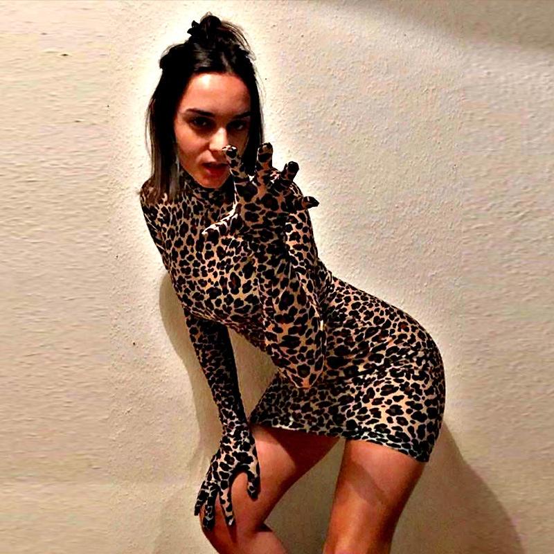 Alibaba.com / Bodycon sexy women long sleeve leopard printed  dress 2019 spring new design hot girl tight dresses